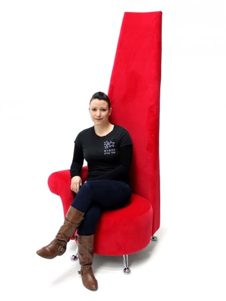 Modern High Back Chair Red Event Prop Hire