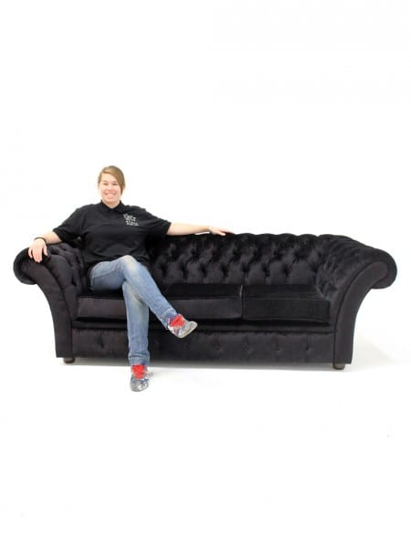 Black Velvet Chesterfield Sofa - 3 Seater | Event Prop Hire