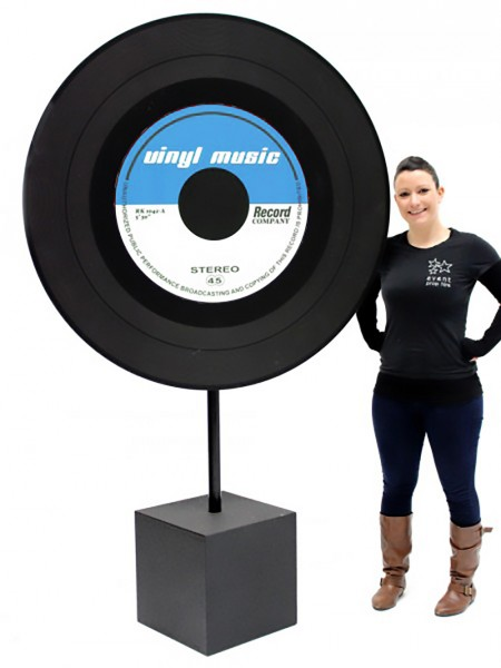 Giant Vinyl Record Cutout Blue Label Event Prop Hire