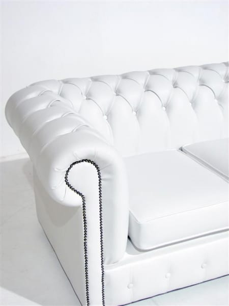 White Chesterfield Sofa Three Seater