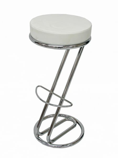Diner Stool Z Shape White Event Prop Hire