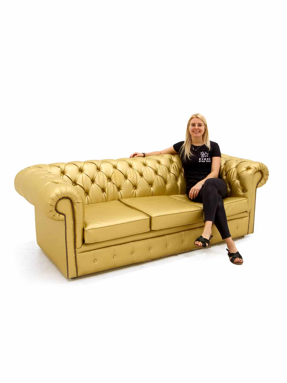 Astonishing Gold Chesterfield Sofa Three Seater Event Prop Hire Gmtry Best Dining Table And Chair Ideas Images Gmtryco