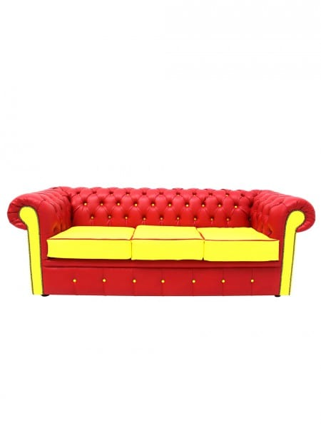 Red & Yellow Chesterfield 3-Seater Sofa