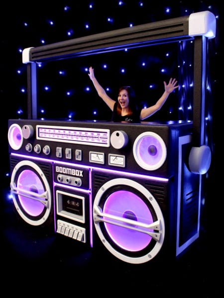Giant Ghetto Blaster Prop With Lights – Black