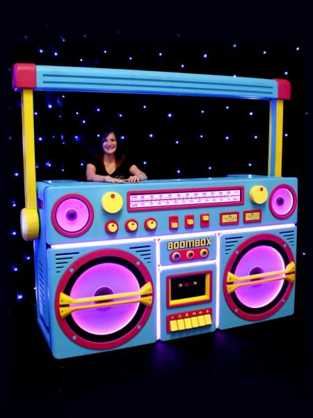 Giant Ghetto Blaster Prop With Lights – Neon Blue