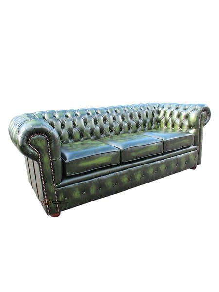 Antique Green Chesterfield Sofa - Three Seater