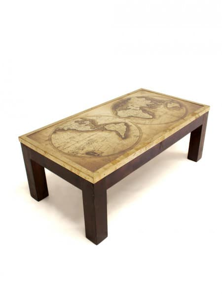 Stupendous Wooden Coffee Table With Antique Map Top Home Remodeling Inspirations Propsscottssportslandcom