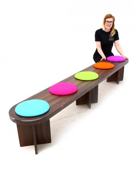 Pleasing Catwalk Bench Brown With Multi Coloured Seat Pads Event Ncnpc Chair Design For Home Ncnpcorg