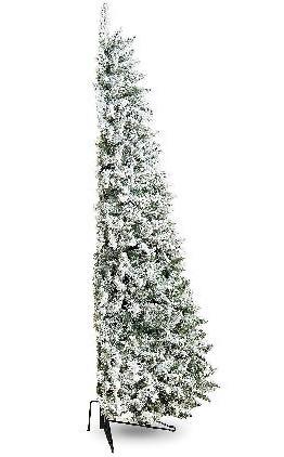 Half Christmas Tree.Flocked Snowy Tree Half Flat Backed 7ft