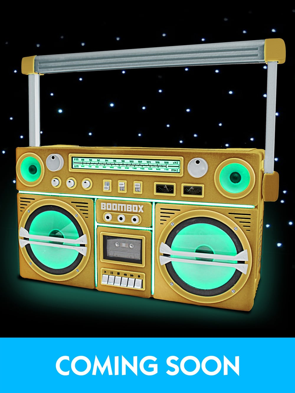 Giant Ghetto Blaster Prop With Lights – Gold